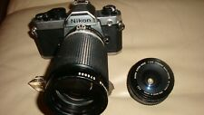 Nikon FM2N 35mm film camera with two lenses