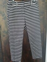 "ANN TAYLOR LOFT WOMENS PANTS ""JULIE"" SIZE 2 NWOT BLACK AND TAN STRIPED"