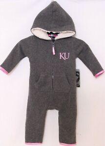 NEW Kansas KU Jayhawks Colosseum Gray Hooded Sleeper Romper Infant 6-12 Mths