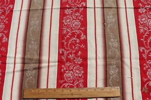 """Antique c1900 French Floral Turkey Red  & Brown Ticking Fabric~L-32"""" X  W-26"""""""