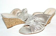 "❤️NINE WEST Kessie Knotted Silver Leather 3"" Cork Wedge Slides 9.5 M NEW! L@@K!"