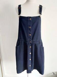 NEXT Size 18 Denim Dungaree Dress Pinefore Dark Blue NWT