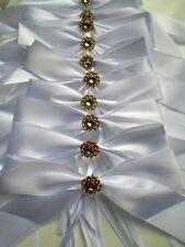 Noeuds ruban satin blanc  doré décoration mariage voiture banc église lot 10pc