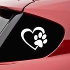 Pet Paw Print With Heart Dog Cat Vinyl Decal Car Window Bumper Sticker White