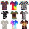 Mens 3D Print Visual Swirl T-Shirts Summer Casual Short Sleeve Graphic Tee Top
