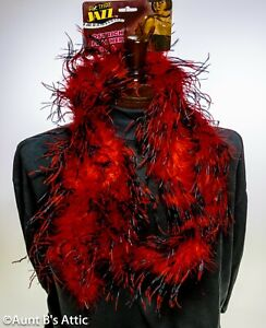 """Feather Boa Blk/Red Ostrich Feather Boa 72"""" Long Costume Accessory"""