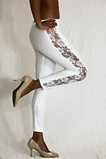 Women White Dressy Leggings Pants with Lace strips One Size Fits Most 0-8