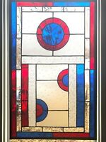 BEVELED STAINED GLASS WINDOW - 16 3/4  X 26 3/4
