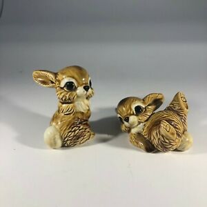 VTG Lot of 2 Norcrest Bunny Rabbit Figurines Hand Decorated