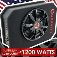 "Ported 1200w 12"" CAR AUDIO UNDER SEAT SUPER SLIM POWERED SUBWOOFER ENCLOSURE SUB"