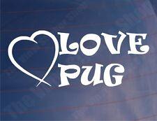 LOVE PUG Funny Novelty Peugeot Car/Van/Window/Bumper Girly Vinyl Sticker/Decal
