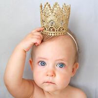 BG_ ALS_ Newborn Baby Girls Infant Toddler Big Crown Headband Hair Band Headwear