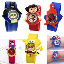 SuperHero Silicone Slap Snap Wristwatch Sport Watch for Unisex Boys Girls Kids