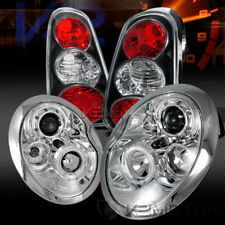 02-04 Mini Cooper Chrome Halo Projector Headlights+Black Rear Tail Lamps
