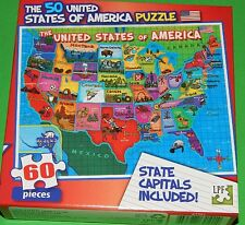 New 60 pc Jigsaw Puzzle Childrens Educational US Map United States w/ Capitals