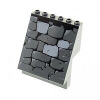 1 x Lego System Panele neu-dunkel grau 4x6x6 bedruckt Mauer Steine schräg Wand a