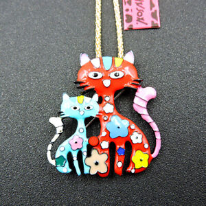 Fashion Betsey Johnson Red Blue Enamel Cute Cat Pendant Chain Necklace/Brooch