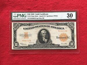 FR-1173am  1922 Series MULE $10 Ten Dollar Gold Certificate  *PMG 30 Very Fine*