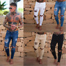 Men's Skinny Jeans Trousers Biker Destroyed Frayed Slim Fit Denim Ripped Pants