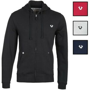 True Religion Men's Classic Logo Full Zip-Up Hoodie Sweatshirt