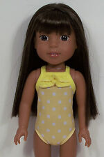 Yellow Polka Dot Swimsuit Doll Clothes For 14 American Girl Wellie Wishers (Debs