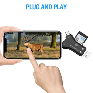 SD/TF Card reader For Android Phones PC Iphone Macbook Deer Camera Multi Black