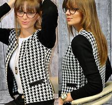 Damen Hahnentrittmuster Slim Fit Kurzjacke Blazer Formal Anzug Suit Jacke Mäntel