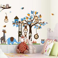 Huge Jungle Animal Wall Stickers Art Owl Monkey Tree Decal Nursery Kids Room DIY