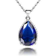 Wedding Pear Cut Blue Sapphire White Gold Plated Pendant Necklace