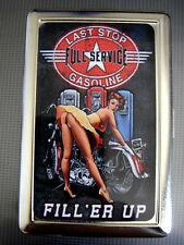 Gasoline Sign D 01 Metal Silver Cigarette Case Vintage Tin Sign Sexy Pinup Girl