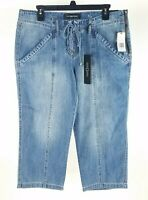 Liverpool Womens Juliette Cropped Jeans 8 Medium Wash  Lace Up Mid Rise 29 New