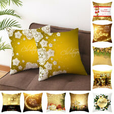 18'' Gold Cushion Covers Christmas Santa Elk Printed Throw Pillow Cover Case 1PC