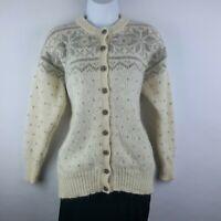 Vtg Snowy Peak N. Zealand Cardigan Sweater Merino Wool & Mohair Ivory & Gray M