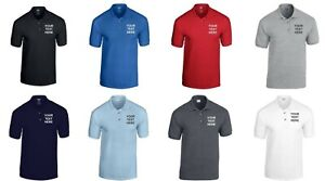 Personalised Embroidered Polo Shirt Custom Printed Workwear T-Shirt Uniform Mens
