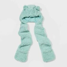 Cat & Jack Girls Size 8-16 Plush/Soft Sherpa Hooded Scarf Blue Bear With Ears