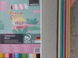 Maxi Fotokartonblock 25 Blatt  Bastelkarton 24x35 cm 270 g/qm 25 Farben NEU 👌