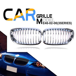 Silver Front Kidney Grill Center Fit BMW 3-Series E46 Coupe 2003-2006 Facelift