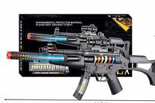 BIG LightS Up Assault Rifle Machine Gun Toy Kids Moving Barrel LED Tommy Pistol