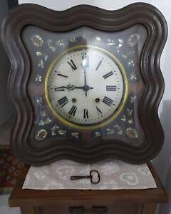 Grande Reloj Antigua Comienza '900 Con Carcasa Madera E Madre Liberty