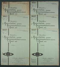 BULLETIN ASSOCIATION ASTRONOMIQUE DU NORD - 1937 COMPLET 6 N° - ASTRONOMIE LILLE