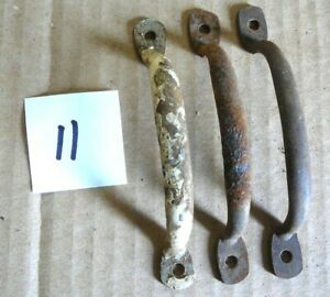 """LOT of 3 ANTIQUE SALVAGE CAST IRON 4-3/8 to 4-1/2"""" DRAWER PULLS HANDLES LOT #11"""