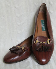 Cole Haan Brown Leather Brass Horse Bit Buckle Tassel Loafers Shoes 6.5 B