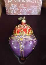 "Jay Strongwater Jeweled ""Top"" Glass Ornament New in Box Swarovski Crystal"