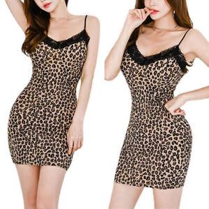 Damen Ärmellos Minikleid Bodycon Sexy Camisole Sommer Unterkleid Nachtwäsche