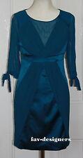 KAREN MILLEN Teal Bodycon Dress UK 10 Plisse Satin Silk  DN243 NEW
