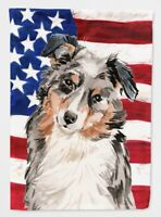 Carolines Treasures BB9362CHF Australian Shepherd Patriotic Flag Canvas House Si