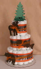 3 Tier Diaper Cake CAMO  Hunting Fish, Bear, Moose  Baby Shower Centerpiece