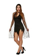 LADIES SEXY HOODED SPIDER COB WEB CAPE HALLOWEEN FANCY DRESS COSTUME ACCESSORY