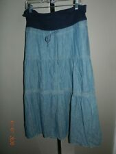 GAP Maternity Skirt size 8 Long Length Maxi Blue Stretch denim chambray tiered