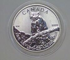 2012 CANADA $5  Wildlife Cougar / Puma 1 ozt .999 SILVER